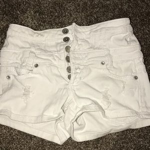 High waisted Almost Famous white denim shorts